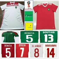 camisa roja al por mayor-Camiseta de fútbol de Marruecos de la Copa del mundo 2018 ZIYECH BOUTAIB BOUSSOUFA EL AHMADI BENATIA Camiseta de fútbol personalizada en blanco, camino a casa, rojo, blanco