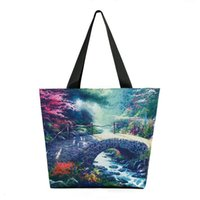 Wholesale beautiful landscapes painting resale online - Nice Shoulder Bags landscape painting print women handbags beautiful scenery female big totes polyester bags birthday gifts