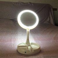 espejo de maquillaje batería al por mayor-Espejo cosmético plegable LED alimentado por baterías Mi Fold Away Moda Mujeres Iluminado Espejos de maquillaje Lujo Nuevo estilo 18 5yt Ww