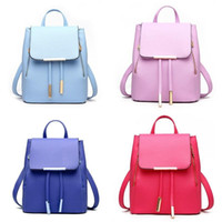 Wholesale backpacks for travel resale online - Pure Colors Leisure Storage Bags For Women Girls PU Leather Backpack Soft Outdoor Travel Bag High Quality jd BB