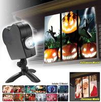 ev için spot ışıklar toptan satış-Pencere Ekran Cadılar Bayramı Noel projektör Işık Ev Sineması Festivali Lamba Çocuklar Hediye için Açık Bahçe Spot