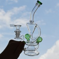 ingrosso tipi di diapositive bong-8,5 pollici Recycler Beaker di vetro Bong Water Pipe Inline Gridded Perc Bubbler Oil Dab Rig Smoking Beaker di vetro Bong Double Chamber Vortex Pipe