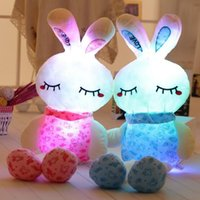 Wholesale led light monkey - 100cm LED Music Easter Bunny Doll Plush Rabbit Cute Stuffed Toys Colorful Light Plush Toys Girls' Valentine's Day Gifts CCA8899 12pcs