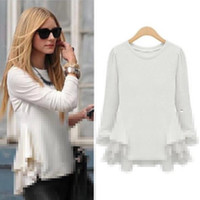 Wholesale Long Sleeve Peplum Top Xl - Discount!!! Women tops and blouses 2018 new fashion White Chiffon Blouse Splicing Pleated Peplum Shirt Long Sleeve chemise femme