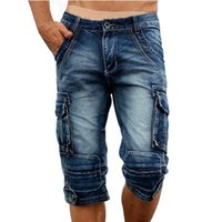 Wholesale fit cargo shorts - Idopy Casual Men 'S Cargo Denim Shorts Retro Vintage Washed Slim Fit Jeans Shorts Mulit -Pockets Military Biker Shorts For Men