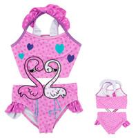 1aea963e53ad1 Girls Swimwear Beach Kids Swan Print One-piece Polka Dot Swimsuit Baby  Swimming Clothes Summer Fashion Children Cute Bikini New