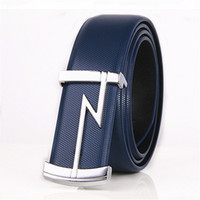 Wholesale belted cow belts - 2017 hot sale New Imported Italian Cow Leather Belt for Men Classic Genuine Leather Strap M Letter Silver Buckle Men Belts free shipping