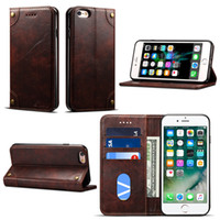 Wholesale Iphone Slimmest Flip Case - Leather Flip Wallet Cases for iPhone 6 Plus   6s Plus Card Slot Pouch Slim Fit Protective Back Shell Card Holder Shockproof Cover Case