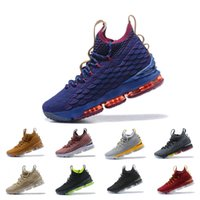 Wholesale blue wear - New Best 15 mens Trainer Shockproof basketball shoes Black Red Blue Grey Fashion Wear-Resisting Athletics Sneakers US 7-12