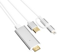 usb mhl venda por atacado-Micro USB Lightning 2 em 1 Kit MHL HDTV de áudio e vídeo AV adaptador conversor de cabo Suporte 4k 60Hz.