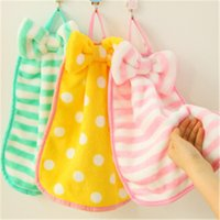 Wholesale Thick Kitchen Towels - Creative Colorful cute style hanging large bow thick coral cashmere absorbent kitchen towels can be hung towel