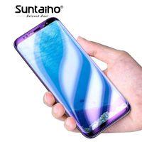 galáxia de vidro temperado azul venda por atacado-Suntaiho 3D Vidro Temperado para Galaxy S8 S9 Plus Anti Azul filme de Vidro Leve para Galaxy Note 8 s6 s7edge Protetor de Tela