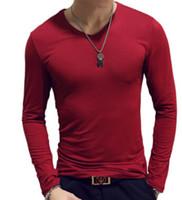 camiseta hombres casual delgado al por mayor-Mangas largas del color del algodón del V-Cuello de la manga larga de la camiseta de la camiseta del otoño del otoño 14 colores Tamaño M-2XL