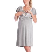 encaje corto para dormir al por mayor-2018 Nueva moda de encaje costura vestido de maternidad del sueño Ropa de salón Ropa de manga corta pijamas de lactancia materna Vestidos