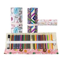 trousse à crayons achat en gros de-36 trous Portable École Crayon Étui de couleur stylo Boîte Papeterie pochette Mignon Toile Stylos Sacs Roll Up Sac Rideau Crayons cas