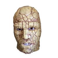 mascarada completa mascaras hombres al por mayor-MostaShow Stone Man Latex Máscara de cabeza completa Disfraz de mascarada de Halloween Máscara Cosplay Festival Suministros para fiestas