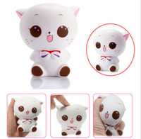 Wholesale dolls kitty - Squishy Kitty smile Cat Doll Slow Rising Soft Pinch Stress Reliever Charms Kids Toy Charme Squishy Kitty Cat BBA96