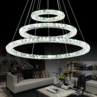 кольцо с бриллиантами оптовых-Современный хром люстра кристаллы бриллиантовое кольцо светодиодные подвесные лампы из нержавеющей стали подвесные светильники регулируемые Cristal LED блеск