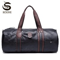 Wholesale Vintage Duffle Bags - PU Leather Men's Travel Bags Casual Shoulder Bag Brand Men Messenger Bag Handbag Tote Travel Duffle Bags Vintage Sac De Voyage