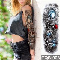 tatouages d'anges achat en gros de-Tatouage temporaire imperméable autocollant crâne ange rose motif de lotus pleine fleur tatouage avec bras Body Art grand grand faux tatouage
