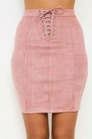 Wholesale womens suede skirts - Women Suede Leather Bandage Skirts Fashion Summer Spring Autumn Hip Up Sheath Skinny Skirt Womens Clothing