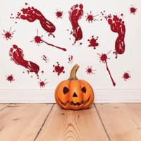móveis eco venda por atacado-2018 Halloween Adesivos De Parede Horror Porta Etiqueta Janela Abóbora Pegadas Sangue Handprint Adesivos Decoração de Halloween Por Atacado