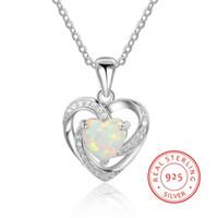 kapı mücevheratı toptan satış-Saf Gümüş Düğün Kolye Takı için Opal Kolye 925 Ayar Kalp Neckalce Eşi Anne Hediye Dışarı Kapı Hediye YLQ0661