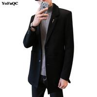 Wholesale Korea Men Coat Styles - 2017 New Fashion Designer Winter Korea Style Mens Trench Coat Unique Oblique Single-Breasted Men Long Trench Coat Plus Size