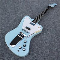Wholesale light blue electric guitar - Custom Shop Vintage Non Reverse Fire Thunderbird Light Blue Electric Guitar Long Version Maestro Vibrola White Pickguard Chrome Hardware