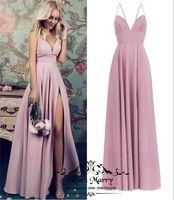 zwei tonvorhänge großhandel-Blush Pink Plus Size Günstige Brautjungfernkleider 2020 A Line Lange Satin High Split Einfache Country Beach Trauzeugin Hochzeitsgast Kleider