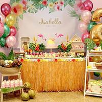 ingrosso giacche hawaiano hula erba-Gonna da tavolo hawaiana Luau colorata Hula Gonna da tavolo con fiore di ibisco lungo 9 piedi Decorazione del partito