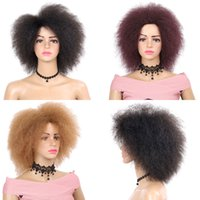 rot dunkelbraun großhandel-Kurze Afro Lockige Synthetische Haarperücken Für Frauen Dunkelbraun Schwarz Rot Farbe Yaki Gerade Kurze Perücke Cosplay Simulation Menschenhaar Kanekalon