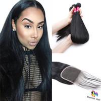 longue armure péruvienne achat en gros de-Péruvienne de cheveux humains longue ligne droite 3 Bundle Deals 7A Non Transformés Péruvienne Droite Weave Bundles