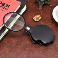 Wholesale foldable magnifier - Practical 60mm Jewelry Magnifier Hand Held For Elderly Reading Glass Foldable Pocket Magnifying Glasses With Leather Case 1 8sj B