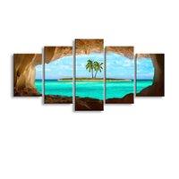 imagem da ilha venda por atacado-5 peças de alta definição de impressão ilha do Caribe cartaz da pintura da lona e arte da parede sala de estar imagem HaiD-006