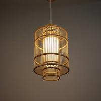 ingrosso disegno di illuminazione di bambù-Design creativo Lampade a sospensione in bambù a mano in bambù Lampade a sospensione moderne a lanterna Illuminazione decorativa in deco Sospensione in legno G087