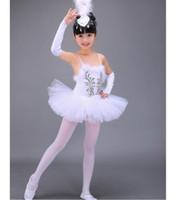 trajes de ballet branco venda por atacado-Profissional branco cisne lago ballet tutu traje meninas crianças bailarina dress crianças ballet dress dancewear vestido de dança para a menina