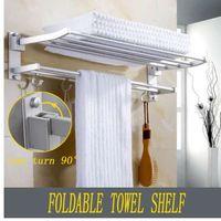 ingrosso doppi vetri da bar-Xueqin 56x7.2x3.5cm Asciugamani da bagno rack doppio porta asciugamani a parete Spazio asciugamano in alluminio mensola con ganci