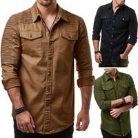 camisa de vaqueiro manga comprida venda por atacado-Marca 2018 Moda Jeans Camisa Longo-Mangas Lavável Cowboy Camisa de Bolso Decoração Mens Camisas de Vestido Magro Dos Homens
