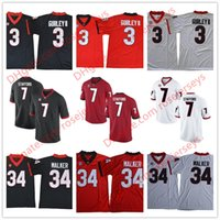 Wholesale Black Walkers - Georgia Bulldogs #3 Todd Gurley II 34 Herschel Walker 7 Matthew Stafford White Red Black Retired Stitched College Football SEC UGA Jerseys
