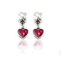 piedras preciosas cuentas europeas al por mayor-Se adapta a Pandora pulsera de plata esterlina corazón rojo piedras preciosas cuelgan los encantos de los encantos para la cadena europea del encanto de la serpiente de moda joyería de DIY al por mayor