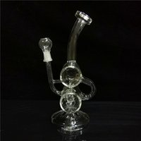 Wholesale double barrel glass resale online - Classical Bongs Double Barrel Recyler Oil Rigs Glass Water Pipes With mm Joint