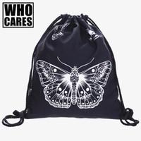 Wholesale drawstring bag trend - Buttterfly Tatoo 3D printing backpack women man wild bags 2017 Fashion Travel Trend line brand mochila feminina drawstring bag