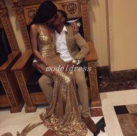 alfombra dorada para fiesta de graduación al por mayor-Africa Gold Sequined Mermaid Prom Dresses 2018 Spaghetti Sweep Train Vestidos de noche largos formales Vestidos para ocasiones especiales Red Carpet Wear