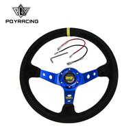 camurça azul venda por atacado-PQY RACING - Volante Azul ID = 14inch 350mm OMP Profundo Volante Drifting Milho / Rodas de Couro de Camurça PQY-SW21B