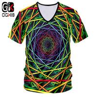 hommes v ligne achat en gros de-OGKB Unisexe Hiphop Streetwear Casual Tshirt Hommes D'été Tops Funny Print Géométrique Couleurs Lignes 3D V Neck T-shirts Dropshiping
