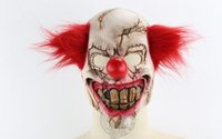 Wholesale creepy clown halloween costumes resale online - Creepy clown Halloween Christmas bar party costume latex scare mask