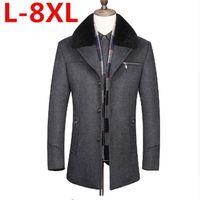 Wholesale Mens Wool Collar Jacket - New plus size 7XL 6XL5XL Long Big Fur Collar Winter Jacket Men Wool Turn Down Collar Thick Warm Mens Cashmere Coat Winter Jacket