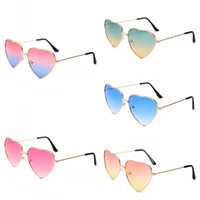 Wholesale heart protection - For Men And Women Sunglasses Double Colors Love Heart Shape Sun Glasses Visual Clarity Anti Glare UV Protection Spectacles Noble 4hy B