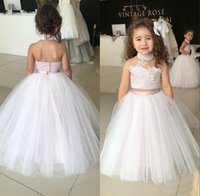 Wholesale two piece halter wedding dresses - 2018 Junior Kids Two Pieces Flower Girl Dresses Princess A Line Halter Neck Backless Girls Toddler Formal Party Wear Gowns Birthday Pageant
